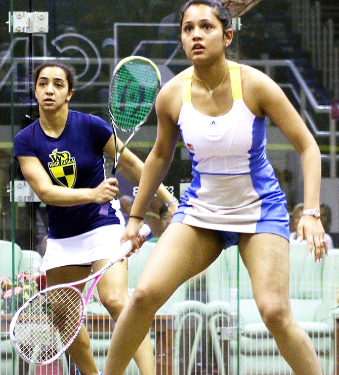 Dipika Pallikal of India in action