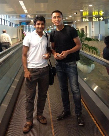 Indian footballers Gouramangi Singh (right) and Nirmal Chhetri