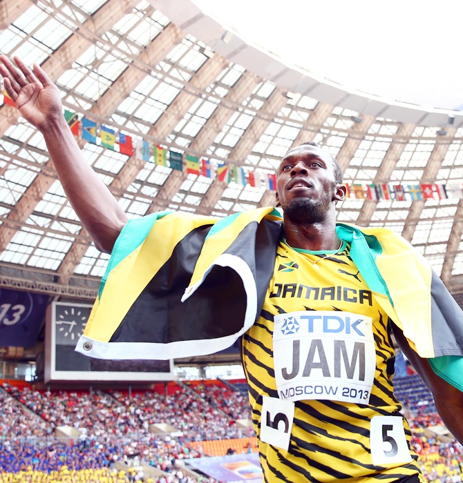 Usain Bolt of Jamaica celebrates winning gold in the Men's 4x100 metres final during Day   Nine of the 14th IAAF World Athletics Championships Moscow 2013