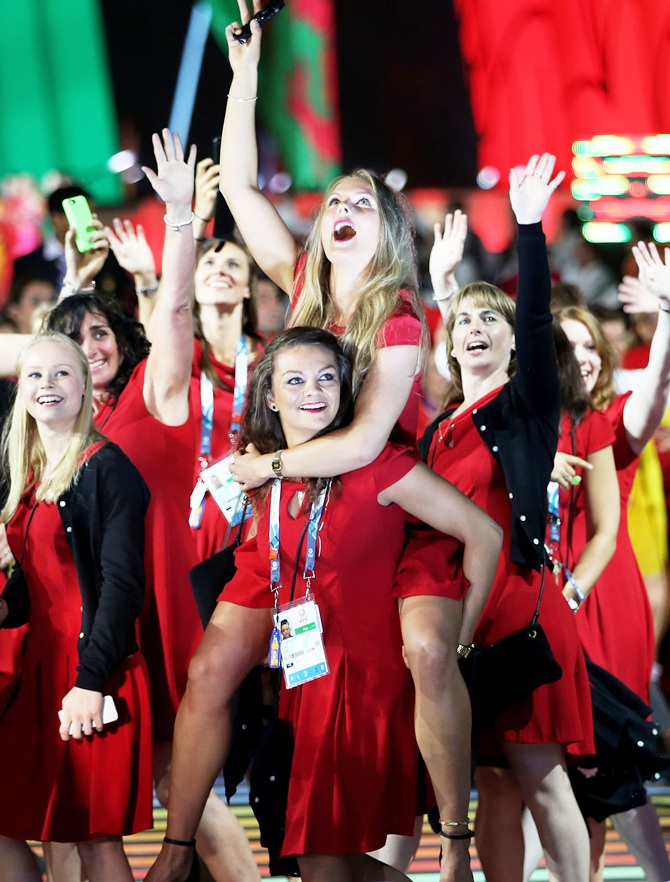 Athletes from Wales soak up the atmopshere during the Opening Ceremony for the Glasgow 2014 Commonwealth Games at Celtic Park