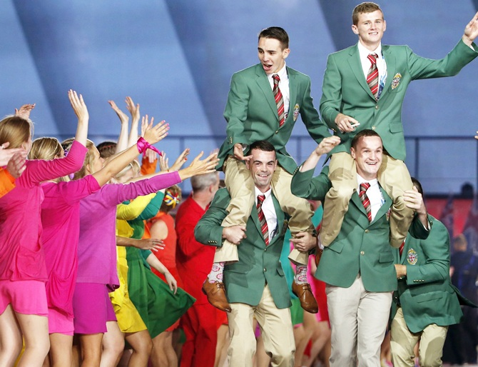 Members of Northern Ireland's team enter the stadium during the opening ceremony