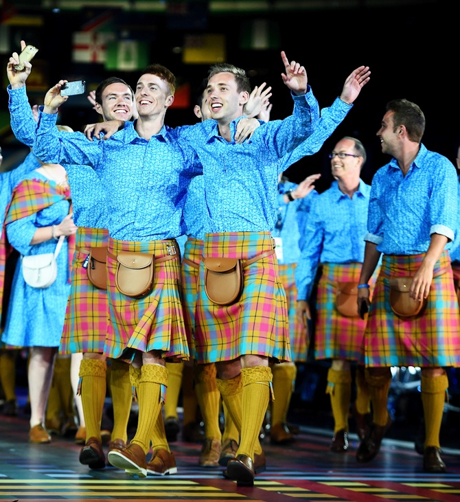 Athletes from Scotland arrive during the Opening Ceremony for the Glasgow 2014 Commonwealth Games