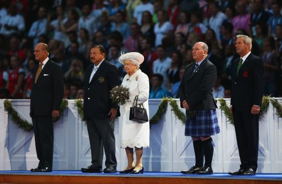 (L-R) Prince Philip, Duke of Edinburgh, HRH Prince Imran the CGF President, Queen   Elizabeth II, Patron of the CGF, Michael Cavanagh, Chairman Commonwealth Games Scotland and   The Chairman of Glasgow 2014, Lord Smith of Kelvin during the Opening Ceremony for the Glasgow 2014 Commonwealth Games