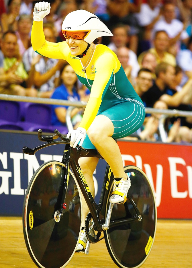 Anna Meares of Australia celebrates winning gold in the Women's 500m Time Trial