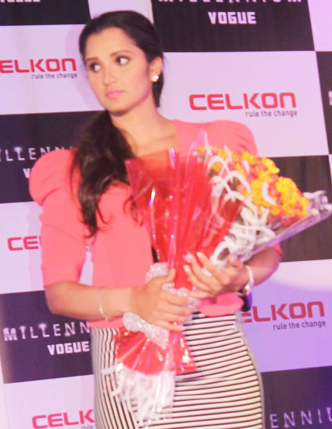 Sania Mirza at the launch of CELKON cell phone millennium vogue q455 in Hyderabad on Friday