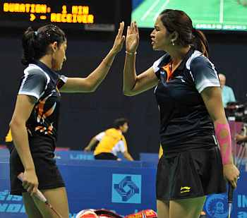 Jwala Gutta celebrates with Ashwini Ponnappa