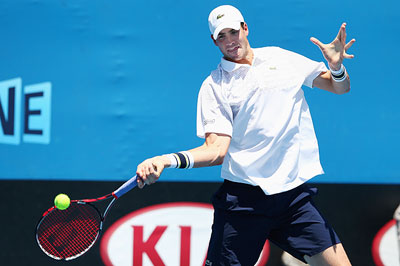 John Isner of the United States plays a forehand