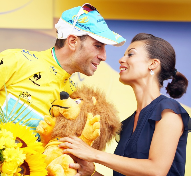 Vincenzo Nibali of Italy and Astana Pro Cycling celebrates winning the eighteenth stage