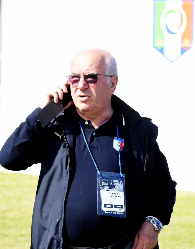 Carlo Tavecchio attends an Italy training session