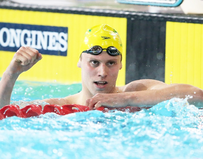 Thomas Fraser-Holmes of Australia celebrates winning the gold medal in the Men's 200m   Freestyle Final at Tollcross International Swimming Centre during day two of the Glasgow 2014 Commonwealth Games
