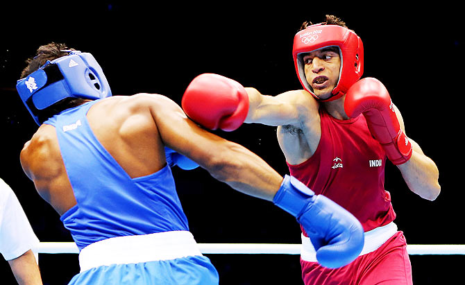 Boxer Sumit Sangwan in action