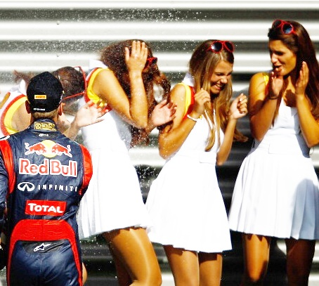 Red Bull's Daniel Ricciardo with grid girls