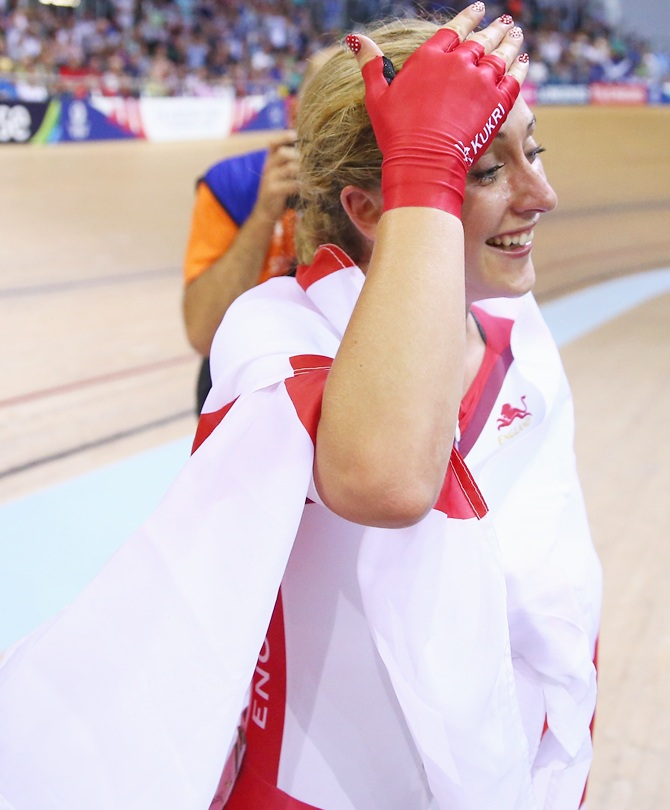 Laura Trott of England celebrates after winning
