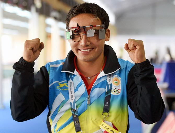 Jitu Rai celebrates after winning the gold medal at Commonwealth Games in Glasgow