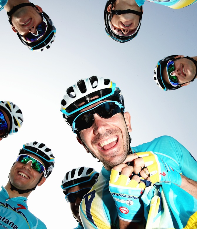 Vincenzo Nibali of Italy and Astana Pro Team poses for a picture with his team mates
