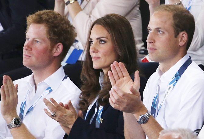 Catherine, Duchess of Cambridge and Prince William, Duke of Cambridge watch Scotland Play Wales at Hockey at the Glasgow National Hockey Centre