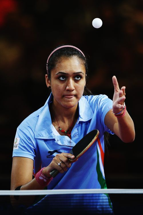 Manika Batra of India serves