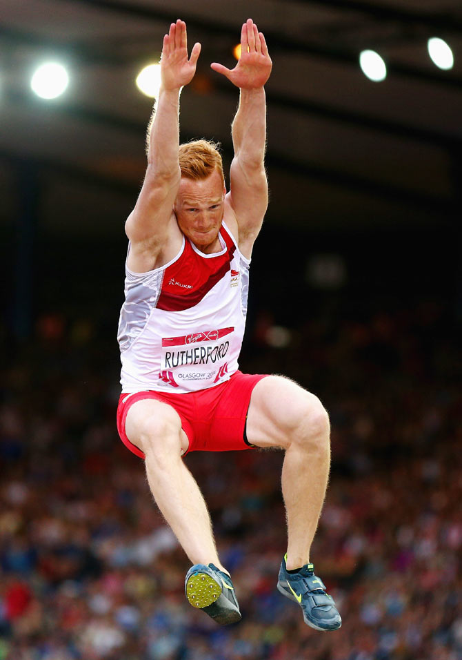 Greg Rutherford of England competes in the Men's Long Jump Final enroute to a gold medal at Hampden Park during day seven of the Glasgow 2014 Commonwealth Games on Wednesday