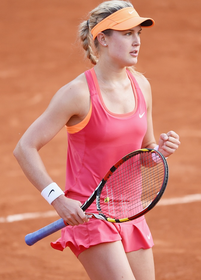 Eugenie Bouchard of Canada celebrates a point