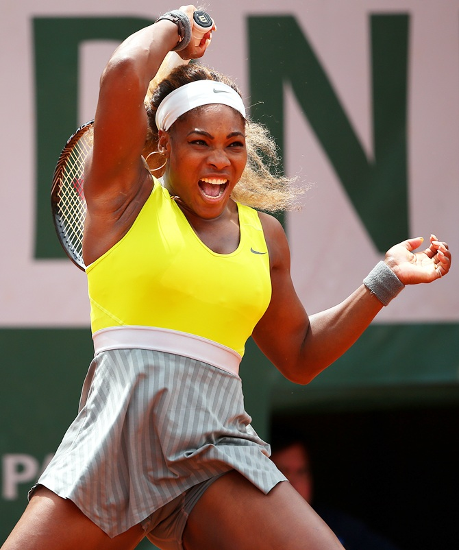 Serena Williams of the United States returns a shot