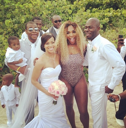 Serena Williams poses with the couple