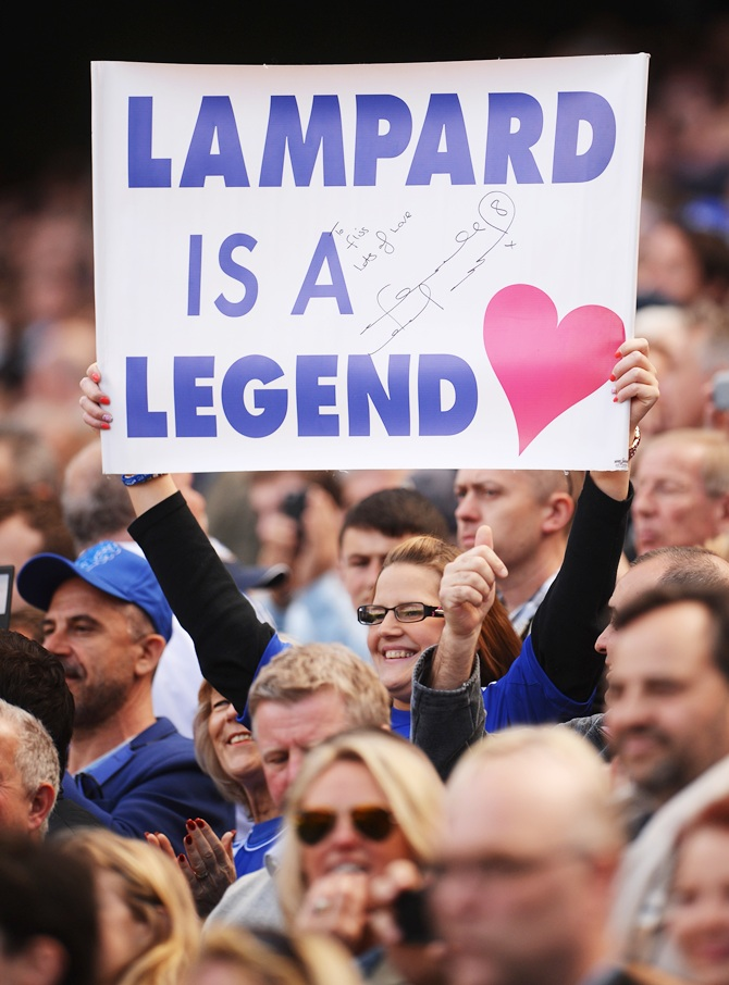 Chelsea fan shows her support for Frank Lampard