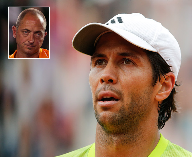 Fernando Verdasco of Spain and umpire Pascal Maria (inset).