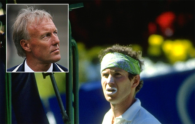 Umpire Gerry Armstrong (inset) and John McEnroe.