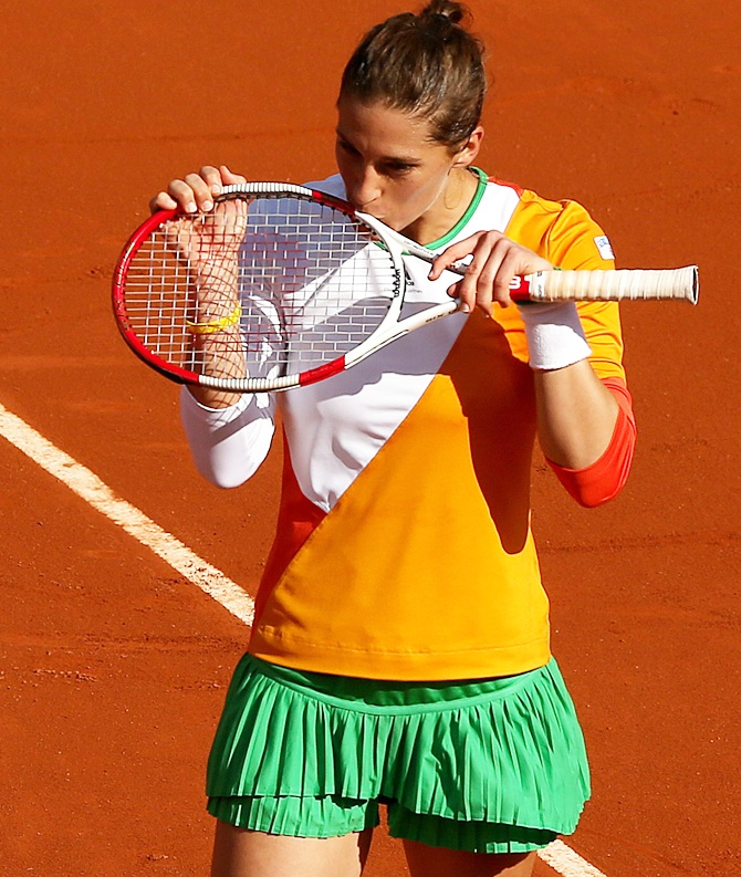 Andrea Petkovic of Germany celebrates