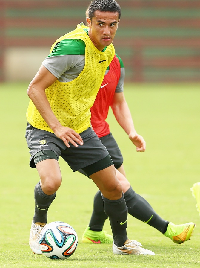 Tim Cahill of the Socceroos controls the ball during an Australian Socceroos training session