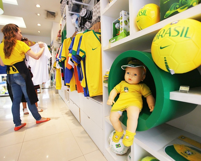 2014 World Cup and soccer memorabilia are on display in a tourist shop