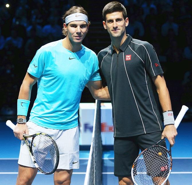 Rafael Nadal,left, of Spain and Novak Djokovic of Serbia pose
