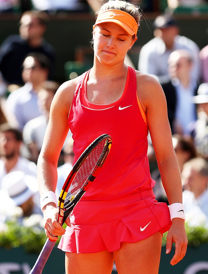 Eugenie Bouchard of Canada reacts