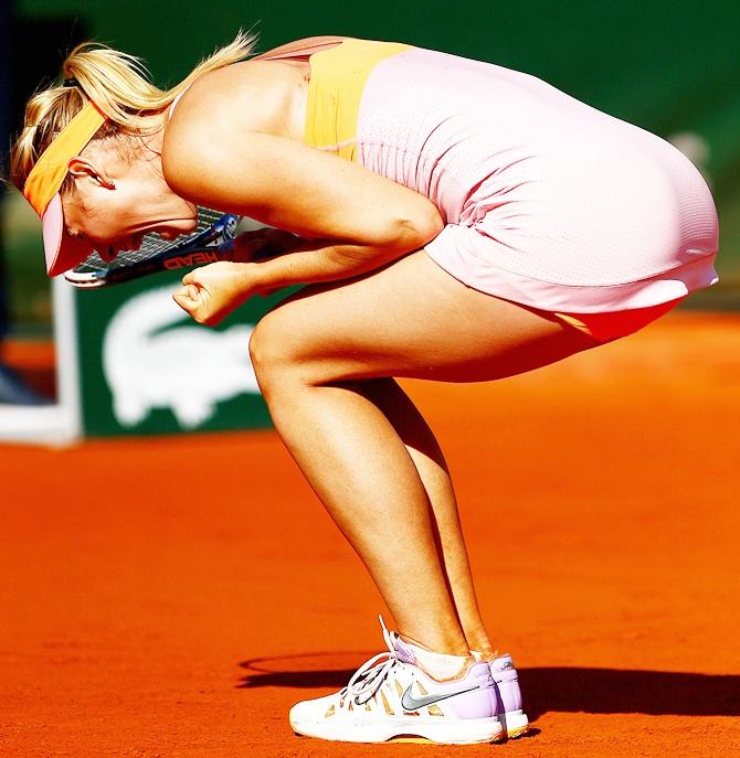 Maria Sharapova of Russia celebrates victory
