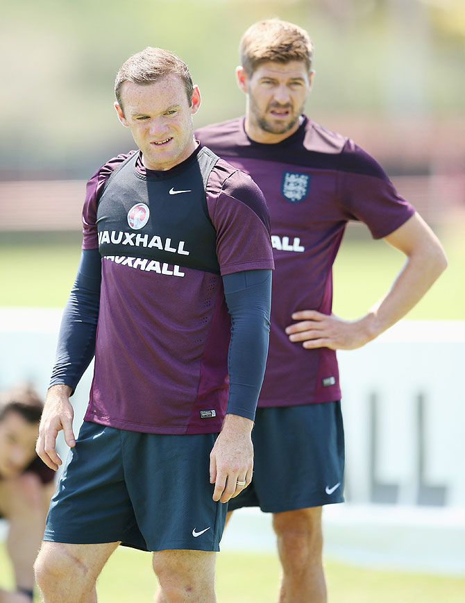 Wayne Rooney and Steven Gerrard in action during an England training session at the Barry University Campus in Miami, Florida on Friday