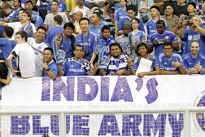 Chelsea fans from India during the match between Chelsea and Malaysia XI on July 21, 2013 at the Shah Alam Stadium in Shah Alam in Kuala Lumpur, Malaysia