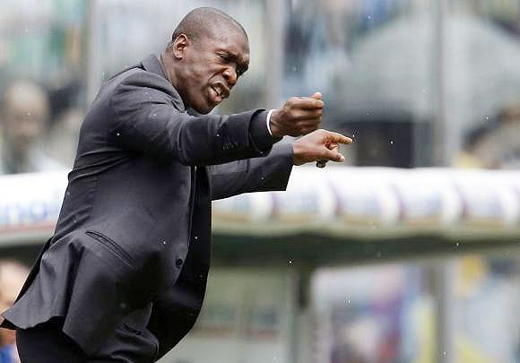 AC Milan's coach Clarence Seedorf gestures