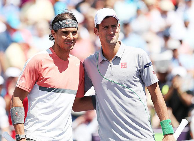 Rafael Nadal of Spain and Novak Djokovic of Serbia