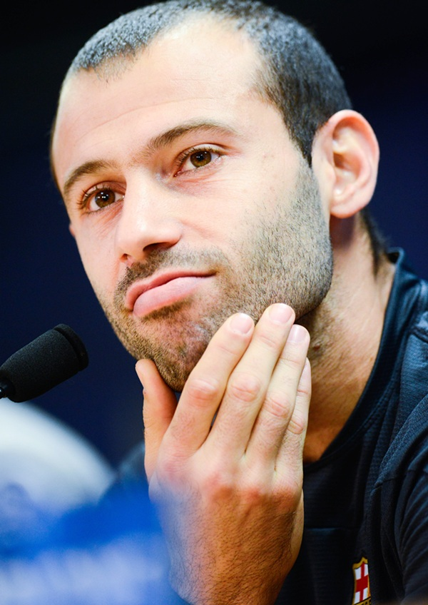 Javier Mascherano of FC Barcelona faces the media