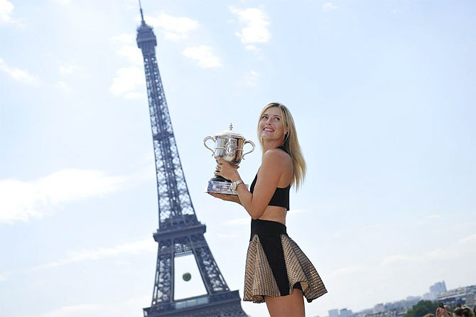 Maria Sharapova outside the Eiffel Tower on Sunday