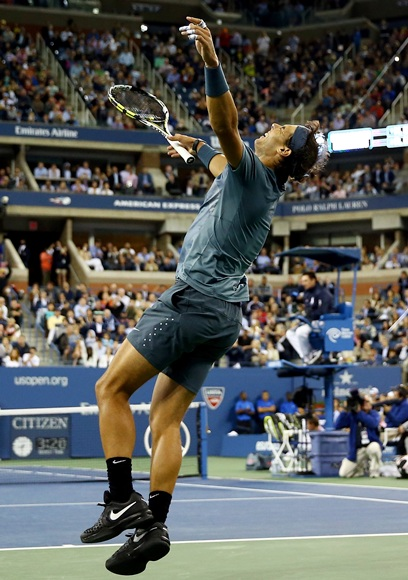 Rafael Nadal of Spain celebrates winning the US Open in 2010
