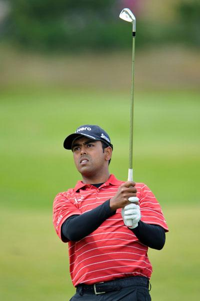 Anirban Lahiri of India plays a shot