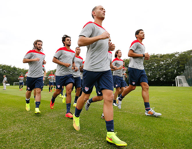 The US men's national soccer team goes through the grind during their training session at Sao Paulo FC in Sao Paulo, Brazil, on Monday