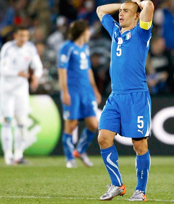 Italy's Fabio Cannavaro reacts after a missed chance during the 2010 World Cup