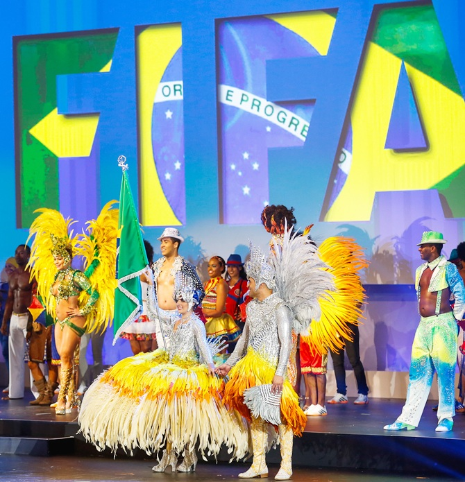 Artists perform during the opening ceremony of the 64th FIFA Congress