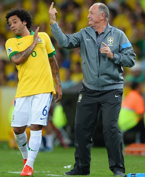 Luiz Felipe Scolari head coach of Brazil gestures