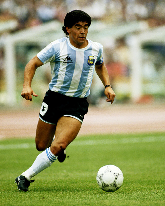 Diego Maradona in action during the 1986 World Cup match against South Korea in Mexico City, on June 2, 1986.