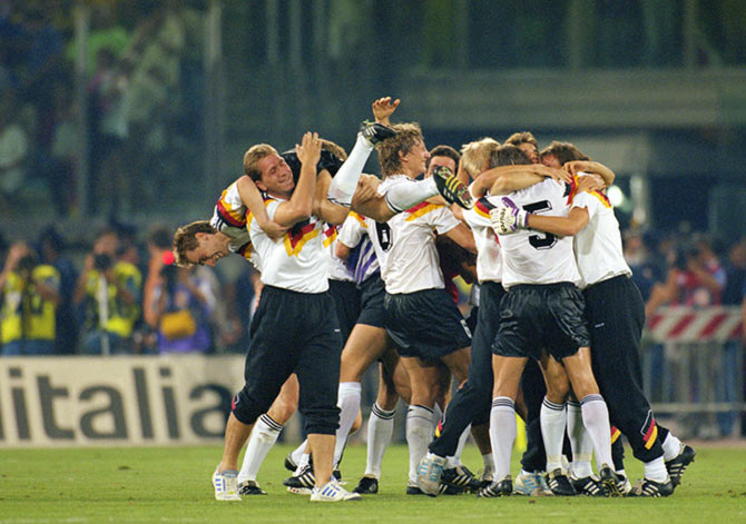 The Germany players celebrate after beating beating Argentina in the 1990 World Cup final in Rome.