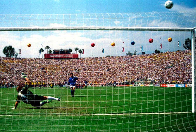 Italy's Roberto Baggio hits his penalty over the bar in the World Cup final against Brazil at the Rose Bowl in Pasadena, California, on July 17, 1994.