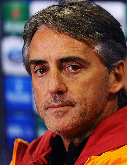 Roberto Mancini of Galatasary faces the media